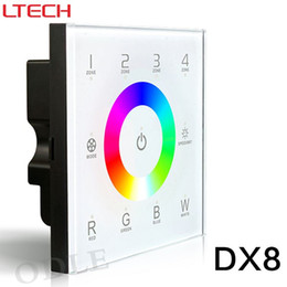 Wholesale Master Dc - DX8 100-240V Wireless 2.4GHz DMX512 Console Master Touch Panel RF Dimmer Controller Wall-mounted 4 zones Control RGB RGBW RGBWW