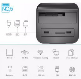 "Wholesale Usb Nas - 2.5"" 3.5"" USB3.0 to SATA HDD Docking station with wifi Router NAS function support 6Tb hdd enclosure support SD TF cardreader"