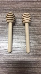 Wholesale Rod Package - 10000pcs 8cm MINI Wooden Honey Dippers Spoon Muddler Stirring Rod Wedding Favors Kitchen Gift OPP Package