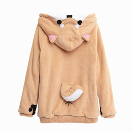 Vente en gros - Harajuku Japonais Kawaii Hoodies Femmes Sweatshirts Avec Oreilles Cute Doge Muco Winter Plush Lovely Muco Anime Hooded Hoodies à partir de fabricateur