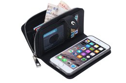 Wholesale Iphone Money Purse - Magnet Zipper Wallet PU Leather Case Pouch with Inner Card Money Pocket Slot Photo Frame Women Purse Cover Man Female Protector for iPhone6