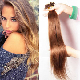 Wholesale 22 Inch Fusion Hair - 100 Sticks 18-24 Inch U Tipped Fusion Hair Extensions Straight Brazilian Pre-bonded U Tip Hair Extension 50g 7A Grade Human Hair Weaves