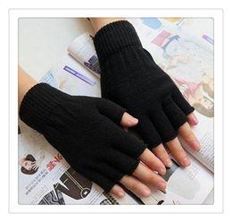 Wholesale Woman Hot Bare - Hot Gloves Unisex Plain Basic Hot Fingerless Winter Knitted Gloves Warm Finger Cover Fingerless Gloves For Women