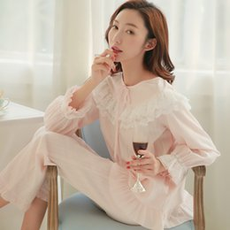 392794578d April Time Spring Sumer Sweet Princess Palace Vintage Lace Pajamas Sexy  Female Women Sleepwear