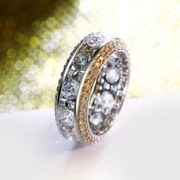 Wholesale Platinum Clusters - Hot Rings in size 5,6,7,8,9,10 Plated by 18k gold and Platinum Setting with High grade cubic zirconia Circle Rings