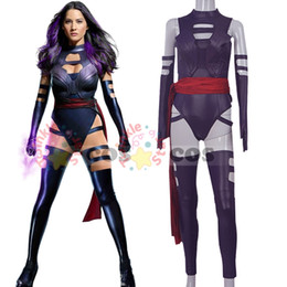 Wholesale X Men Women Costume - 2016 X-Men Apocalypse Psylocke cosplay Costume for women sexy adult Revanche Psylocke costume leather jumpsuit custom made