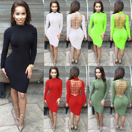 Wholesale Dress Fluorescent - Fashion beautiful sexy and tight back strap hollow nightclub party dress pencil skirt black white green fluorescent green SMR09