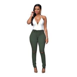 Wholesale Plus Size Pants For Women - Wholesale- 2016 High Waist Jeans Woman Skinny Denim Pencil Pants Holes Boyfriend Jeans Ripped Jeans For Women Plus Size S-XXXL 7 Colors