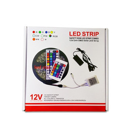 Wholesale Pc Remote Power - 5M 300 Leds RGB led 5050 strip lights Set + 44 keys ir remote controller + power supply adapter