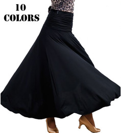 Wholesale Ballroom Dress Waltz - 2017 New Ballroom Dance Skirts for Women 10 Colors Big Hem Fashion Skirt Waltz Flamenco Dance Dress Ballroom Dance Dresses