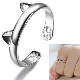 Wholesale Open Cats - 2016 New Women's Cute Cat Ear Claw Open Ring Silver Plated Finger Animal Jewelry 4RT