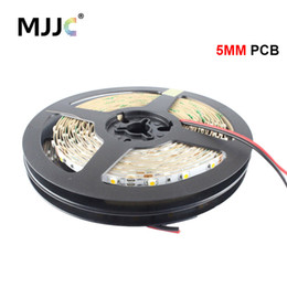 Wholesale 5mm Lights - MJJC 5mm PCB 12V led strip narrow side white warm white red yellow blue green 60LEDs m smd3528 strip lights 10m roll