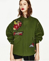 Wholesale Flowers Free Delivery - 2017 PINK New pattern high quality Cotton blending Embroidery rivet kanye west Jacket hip hop women justin bieber Loose coat Free delivery