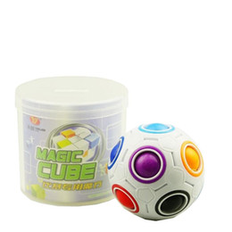 Wholesale Puzzles Black White - Free Shipping Rainbow Magic balls Magic Cubes Magic Football Cube Speed Puzzle Children's Educational Toys Cubes Press Speed Children