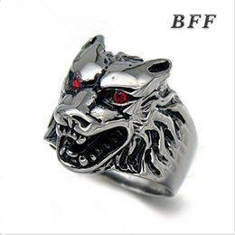 Wholesale Metal Punk Ring - Men's fashion cool punk style stainless steel wolf head ring jewelry high quality heavy metal unfading ring