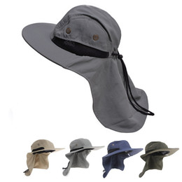 Wholesale Wide Hats - Mens Womens Wide Brim Outdoor Sunshade Neck Protection Fishing Flap Bucket Hat Climb Mountain Jungle Hiking T202