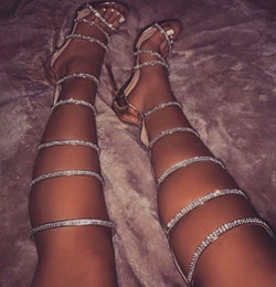 joelho aberto Desconto 2017 lady knee high gladiator verão botas de salto fino botas de strass altas botas gladiador aberto toe festa sapatos