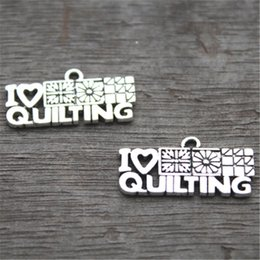 Wholesale 20pcs I Love Quilting Charms Antique Tibetan Silver Tone Quilting Charms Pendants x25mm