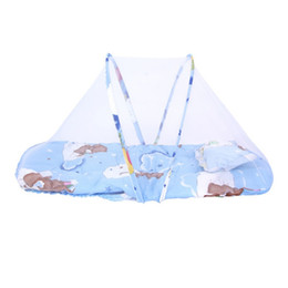 Wholesale Types Cushions Pillows - Wholesale- Summer Baby Mosquito Insect Cradle Net With Portable Folding Canopy Cushion+Cute Pillow Mattress Infant Bedding Accessories