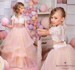 Wholesale Two Piece Wedding Dresses Vintage - Two Pieces Lace 2017 Arabic Flower Girl Dresses Blush Tulle Child Wedding Dresses Vintage Little Girl Pageant Dresses