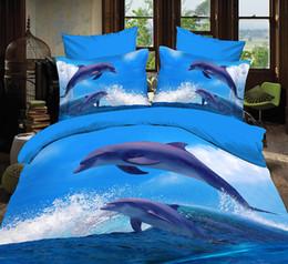 Wholesale Dolphin 3d Duvet Cover - 3D Dolphin Animal Queen Bed Set Sheet Duvet Cover Pillowcases Not Comforter 4pcs