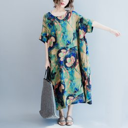 Wholesale Increase Calf Size - 2017 large size women in the long cotton dress with loose summer dress fertilizer increased