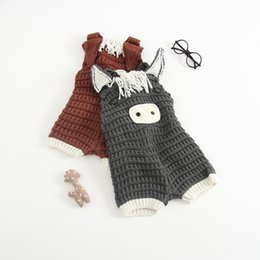 Wholesale Newborn Suspenders Wholesale - Newborn kids Girls Knit Cartoon Overalls Toddler Fashion Crochet Pants Infant Baby Autumn Cute Suspender Pants 2017 kids clothing