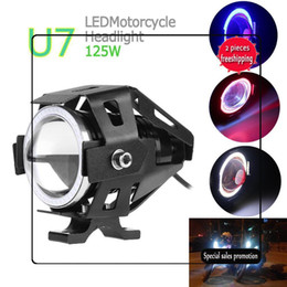 Wholesale Led Fog Lights Motorcycle Cree - Limited Promotion U7 CREE 125W Car Motorcycles LED Fog Light 4 Color Circles DRL Motorcycle Headlights Driving Lights Spotlight MOT_20A