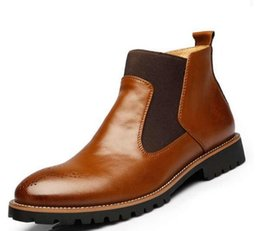 Wholesale Rainboots Male - Men luxury genuine leather Martin boots male fashion cowskin ankle boots big size men basic casual shoes oxford wedge shoes