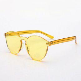 Wholesale Circular Lenses - Classic Round Crystal Sunglasses Eyewear For Women Vintage Colorful Circular Translucent Frame 58mm Transparent Anti-UV Lenses