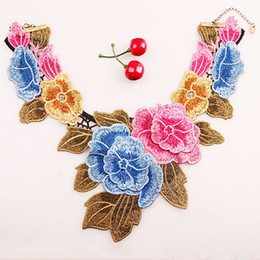 Wholesale Rose Lace Choker - Exaggerated Eembroidery Rose Flower lace necklace ladies Velvet Rope necklace clavicle fresh fake collar Choker Necklace NE657
