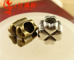 Wholesale Good Luck Bead Bracelets - 9MM Antique Bronze Retro big hole beads hand DIY metal jewelry wholesale, tibetan silver lucky clover charms good luck for bracelet