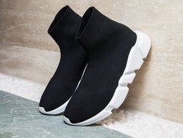 white knit fabric Coupons - Luxury Speed Trainer Black Knit High Socks Sports Shoes,Triple Black Flat Fashion Socks Boots,With Box