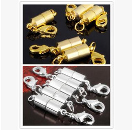 Wholesale Wholesale Magnet Bracelets - Silver Gold Plated Magnetic Magnet Necklace Clasps Cylinder shaped Clasps for Necklace bracelet Jewelry DIY Free shipping