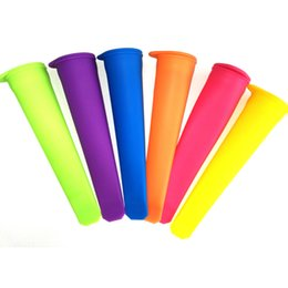 Wholesale Wholesale Push Pop - 6 Colors 15CM Silicone Popsicle Mold DIY Ice Pop Tube Maker Ice Tray Eco-Friendly Popsicle Mold Ice Cream Mould Makers Push Up Tools