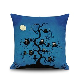 Wholesale Funny Pillow Cases - Halloween decoration Funny flax Pillow cushion covers Without Pillow core 45*45cm 6 style high quality Pillow Case Cover Car Decor wholesale