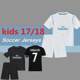 Wholesale Purple Kids Tops Shirts - Top quality 2017 2018 Madrid kids soccer Jerseys 17 18 RONALDO white Black JAMES BALE RAMOS ISCO MODRIC football shirt Thailand Quality