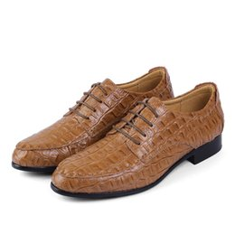 Wholesale Wedges For Wedding Dress - Leather Genuine Leather Oxford Shoes For Men Business Crocodile Shoes Men's Dress Shoes Plus Size Wedding