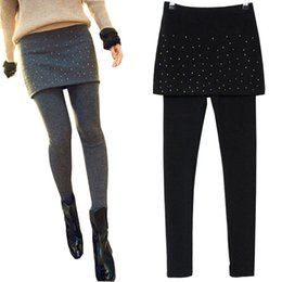 Wholesale Leggings Rivets - Wholesale- spring autumn women Slim package hip fake two culottes hot drilling rivets leggings