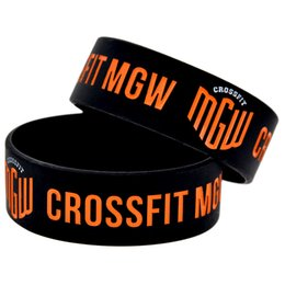Wholesale Crossfit Silicone - Hot Sell 1PC 1'' Wide Band Ink Filled Colour Logo CrossFit MGW Sport Wristband Latex-Free Silicone Bracelet