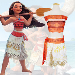 Wholesale Children Adult Cotton Sets Moana Inspired Costume Clothing Coat Belt Grass skirt Petti Skirt Baby Kids Cartoon Cosplay Set Birthday Gifts XL
