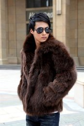 Wholesale Fox Fur Coats Men - Fall-Mens Faux Fox Fur Coat Cute Brand Elegant Men Waterproof Faux Fur Coat Turn-down Collar Casual Outerwear Solid Color