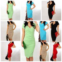 Wholesale Wholesale Solid Black Bodycon Dress - V Collar Irregular Circle Dress Women Summer Candy Color Short Sleeve Package Hip Dress Bodycon Party Vestidos OOA2862