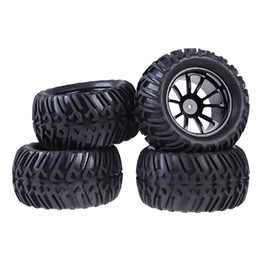 Wholesale Plastic Rims Wheels - New 4PCS Plastic Wheel Rim and Rubber Tires For HSP 1:10 Monster Truck RC Car 12mm Hub