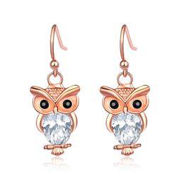 Wholesale Diamond Owl Fashion Studs Earrings - Wholesale Owl Charms Earrings For Women Rose White Gold Plated Animals Dangle Earring CZ Diamond Alloy Stud Earrings New Fashion Jewelry