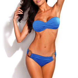 Wholesale Band Set Up - 2017 Summer Women Sexy Metal Ring Push Up Elastic Band Bikini Set Strapless swimwear Padded Low Waist Swimsuit