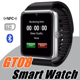 Wholesale Bs Silver - 40X 2017 Latest GT08 Smartwatch A1 DZ09 U8 Bluetooth Smart Watch phone for Samsung Galaxy Android Smartphone Pedometer Sleep Monitoring C-BS