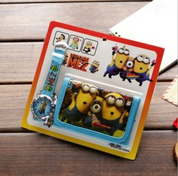 Wholesale Despicable Watches Wallet - Cartoon Despicable Me Faux Leather Quartz Watches And Wallet Boy Girl Gift BW12