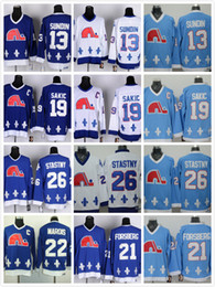 Wholesale Nhl Jersey Cheap - Cord NHL Quebec Nordiques #19 Joe Sakic 21 Forsberg 26 Stastny 13 Sundin 22 Marois White Blue cheap Hockey Throwback CCM Vintage Jerseys