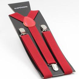 Wholesale Y Clip Suspender Belt - Wholesale-Mens Suspenders Y-back Adjustable Suspender Clip-on Elastic Brace Women Belts Straps 40 Colors 2.5X100CM